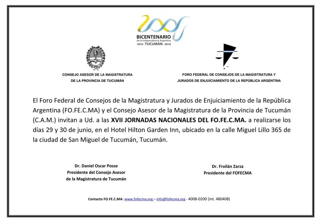 Invitación Jornada Fofecma Tucumán